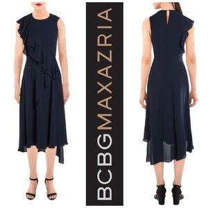 BCBGmaxazria Ruffle Faux Wrap Dress Pacific Blue M